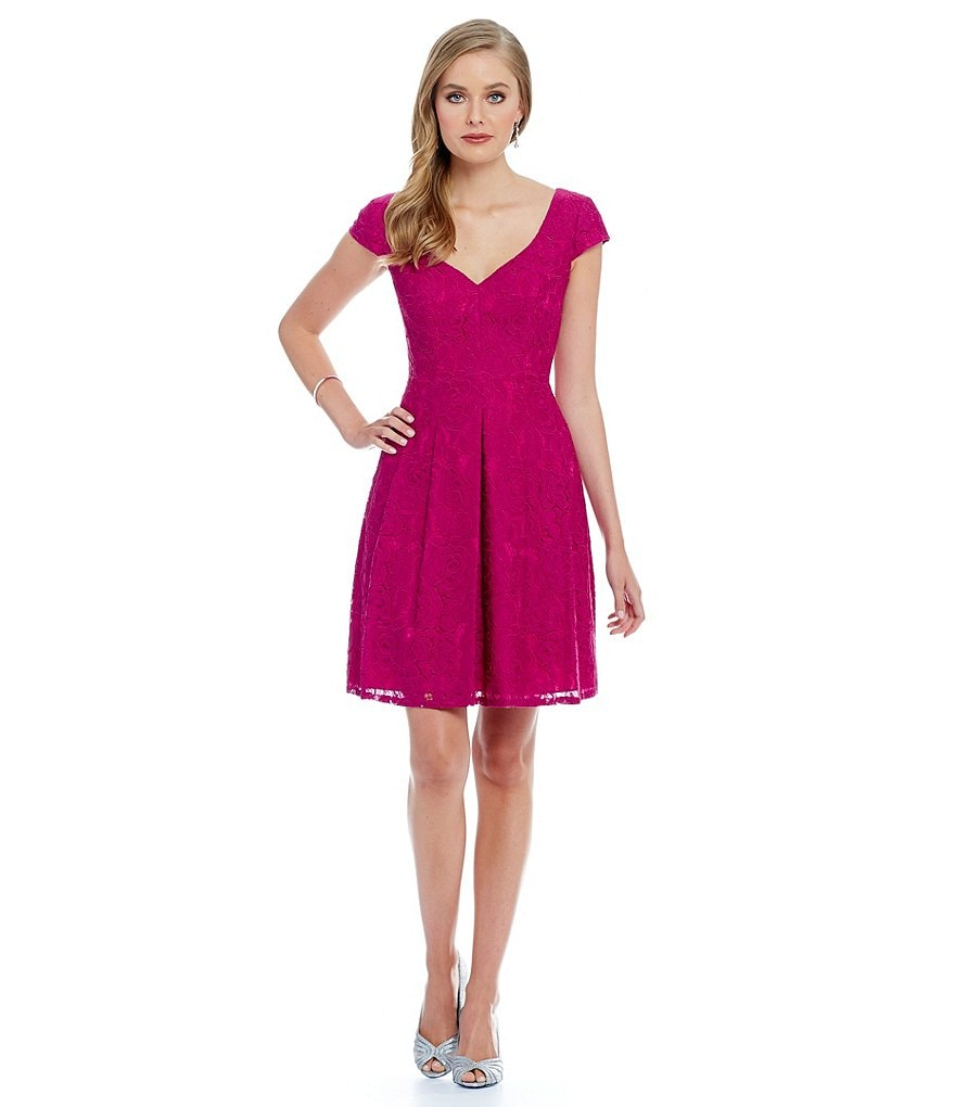 Adrianna Papell Sweetheart Neck Lace Fit and Flare Dress