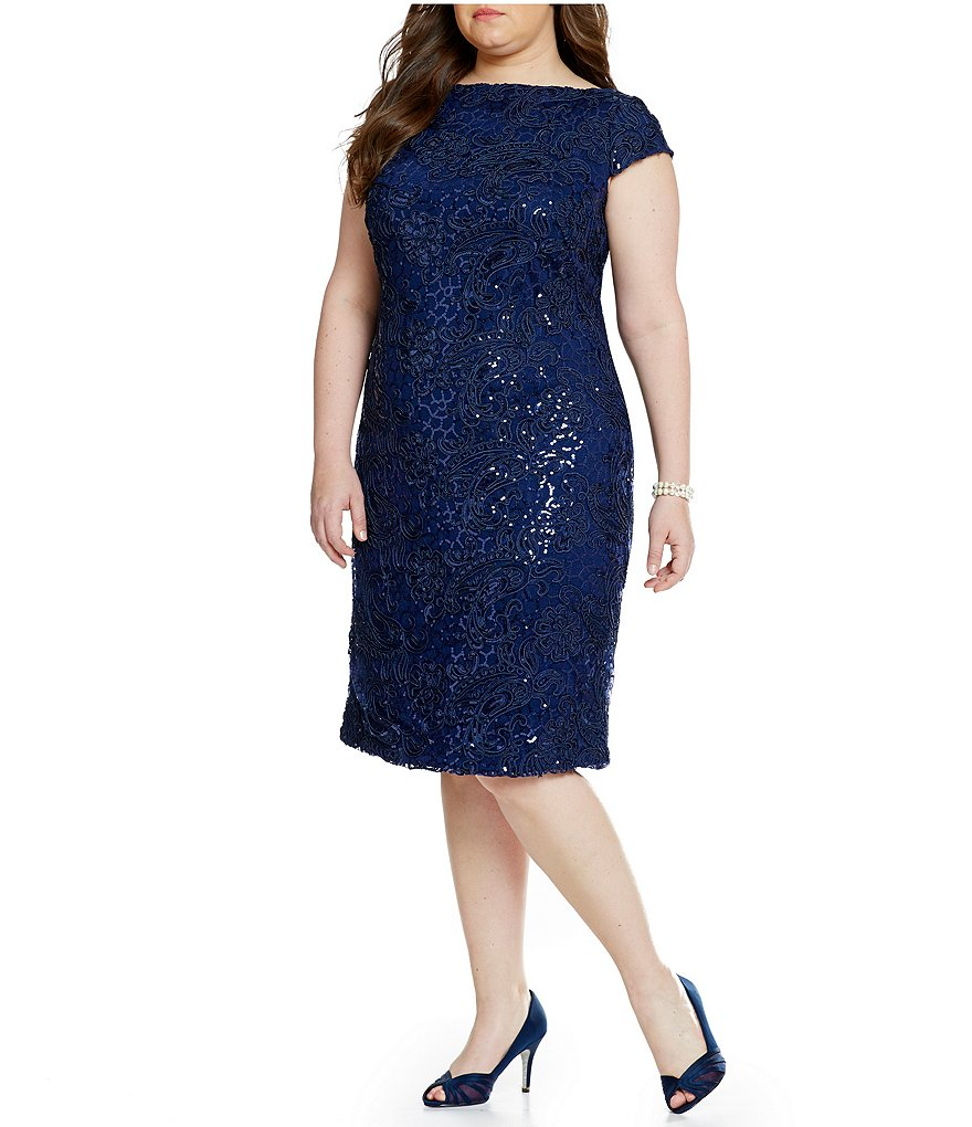 Brianna Plus Sequin Lace Sheath Dress