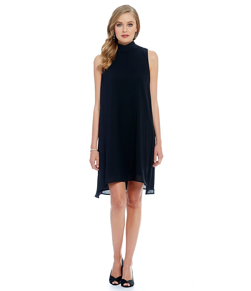 Adrianna Papell Mock Neck Sleeveless Chiffon Trapeze Dress