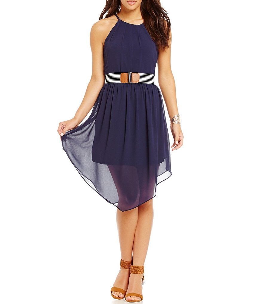 I.N. San Francisco High-Neck Striped-Belt Dress