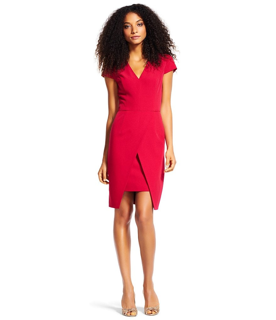 Adrianna Papell V Neck Split Hem Sheath Dress