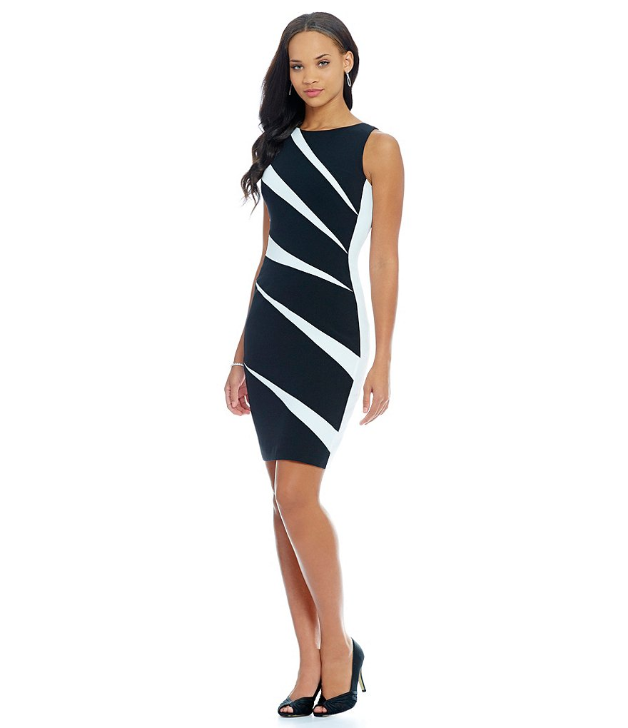 Adrianna Papell Two Tone Slash Sheath Dress