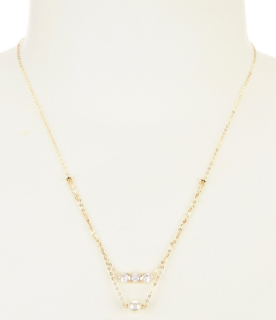 Nadri Melody Pearl & Crystal Double-Drop Pendant Necklace