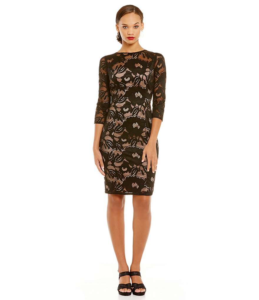 Adrianna Papell Illusion Lace Boat Neck Sheath Dress