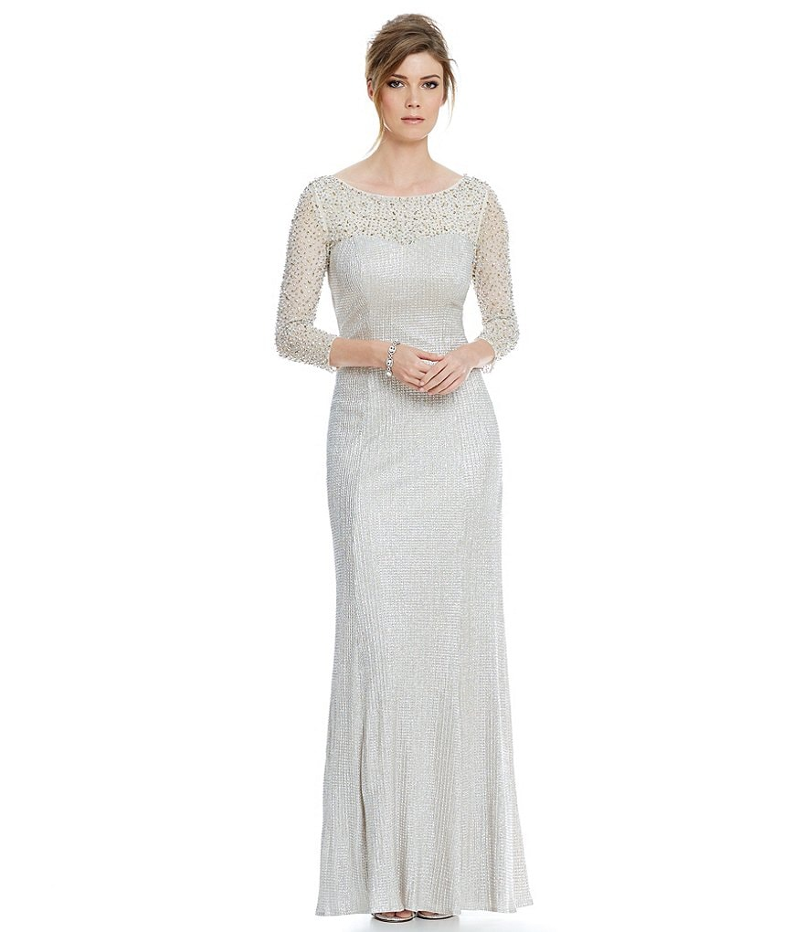 Cachet Illusion Caviar Cowl Back Gown