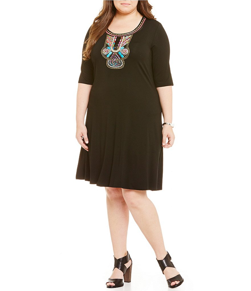 Cupio Plus Embellished Neck A-line Elbow-Length Sleeve Dress