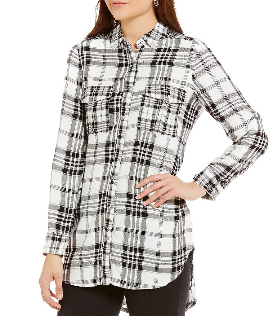 Intro Point Collar Roll-Tab Hi-Low Plaid Tunic