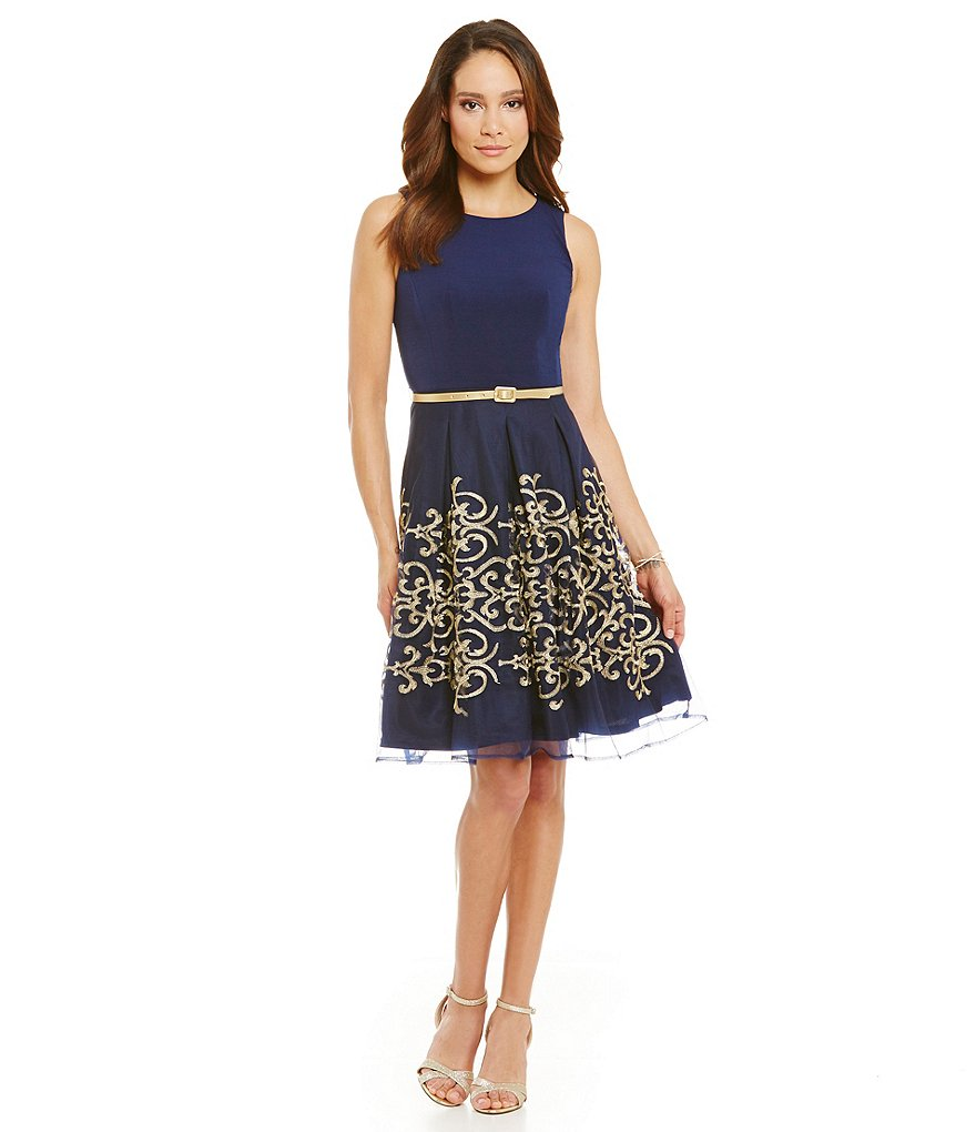 Leslie Fay Sleeveless Fit-and-Flare Gold Embroidered Dress
