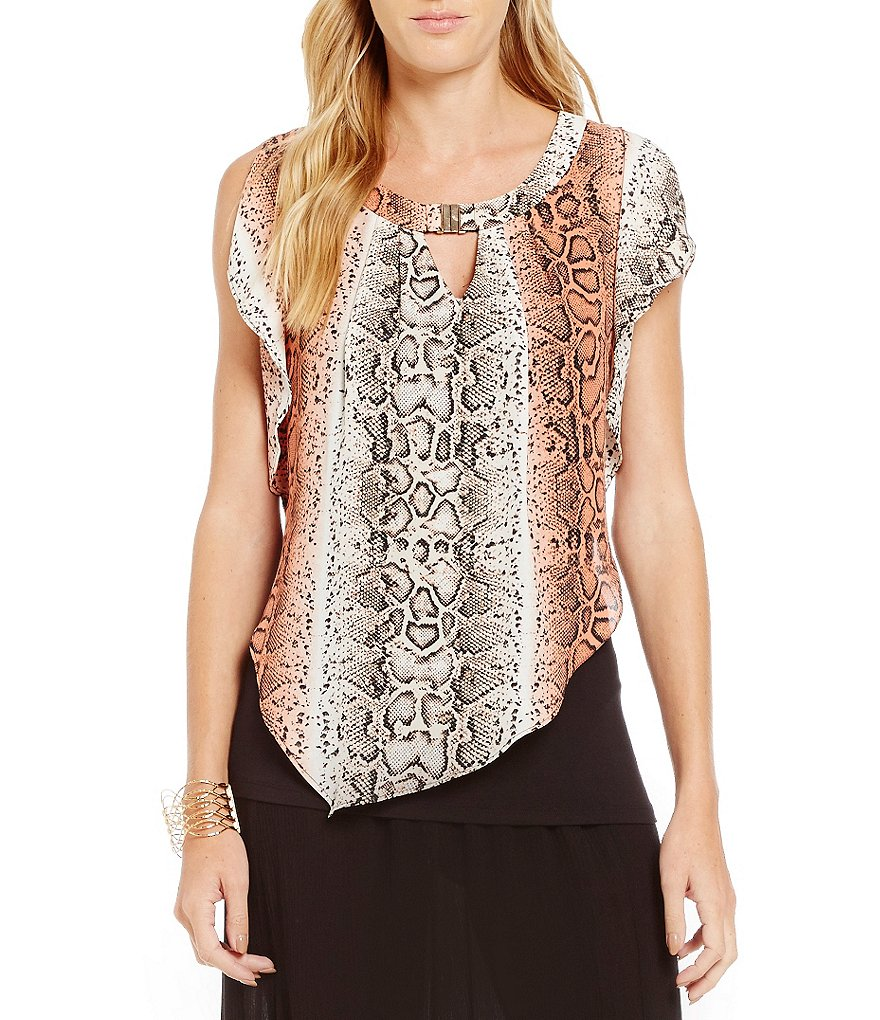 I.N. Studio Snake Print Asymmetrical Hem Bar-Neck Popover top