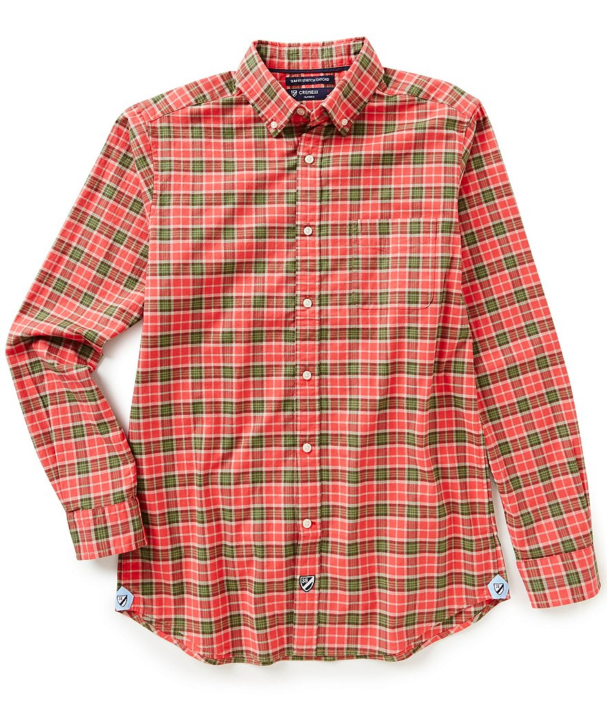 Cremieux Long-Sleeve Slim-Fit Plaid Oxford Woven Shirt