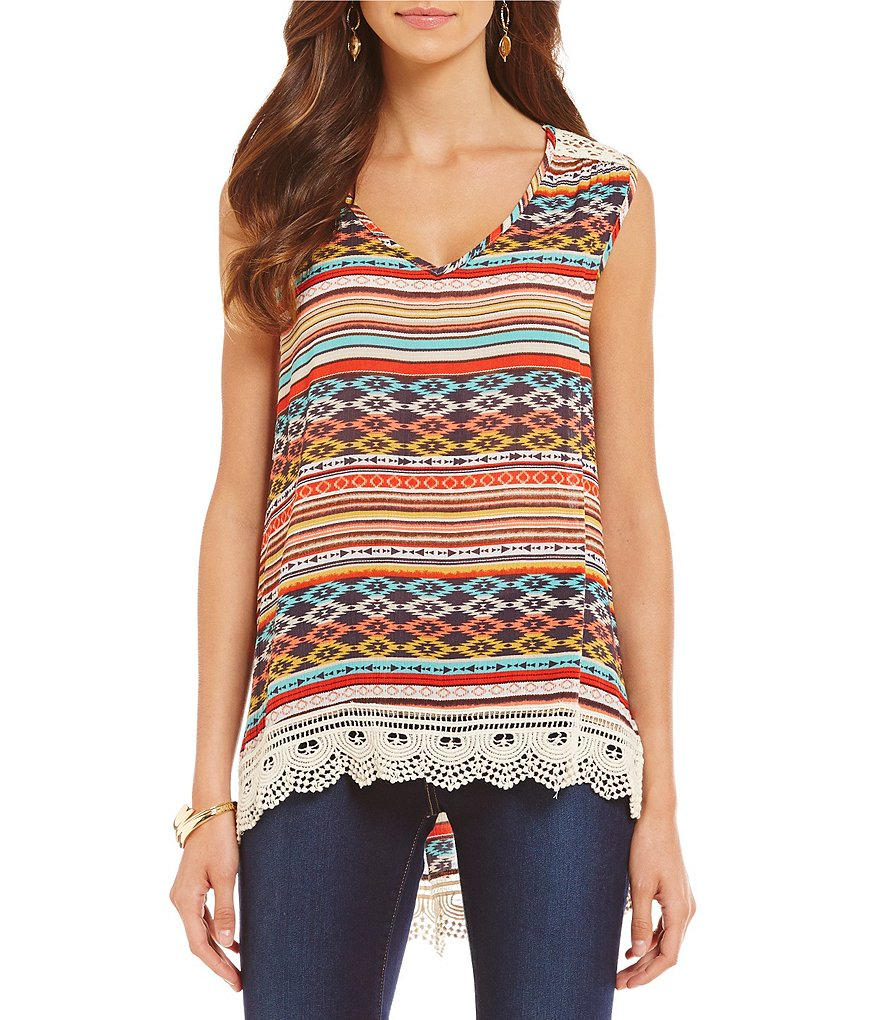 Bobeau Sleeveless Printed Woven Lace Trim Top