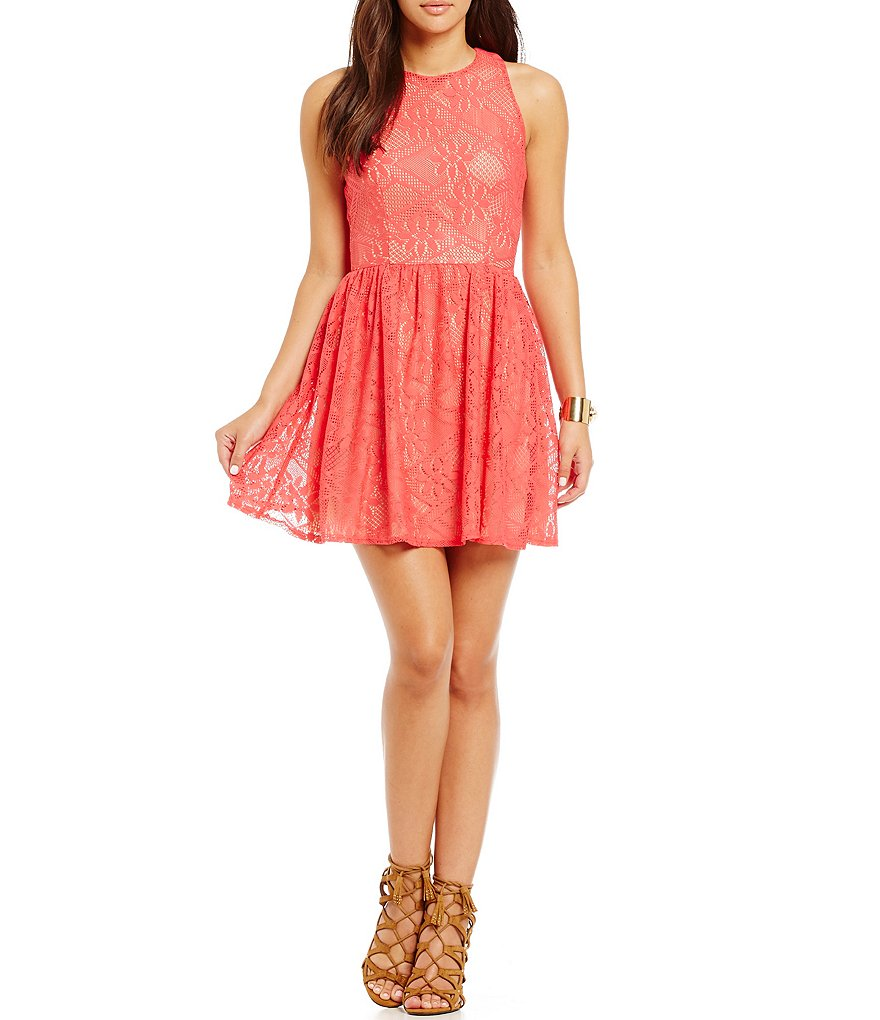 B. Darlin Lace Open Back A-Line Dress