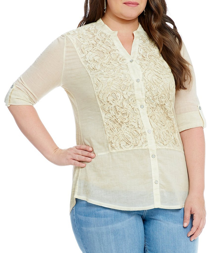 Reba Plus Gabrielle Woven Knit Top