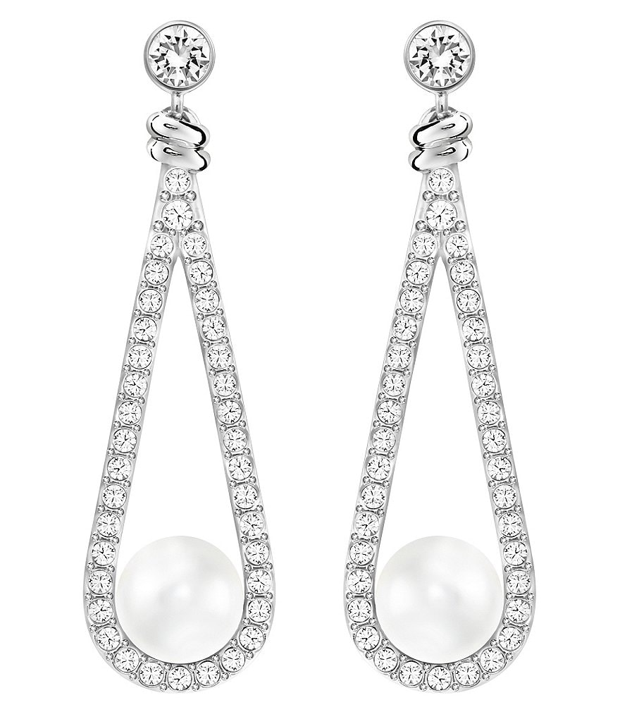 Swarovski Enlace Pavé & Pearl Drop Earrings