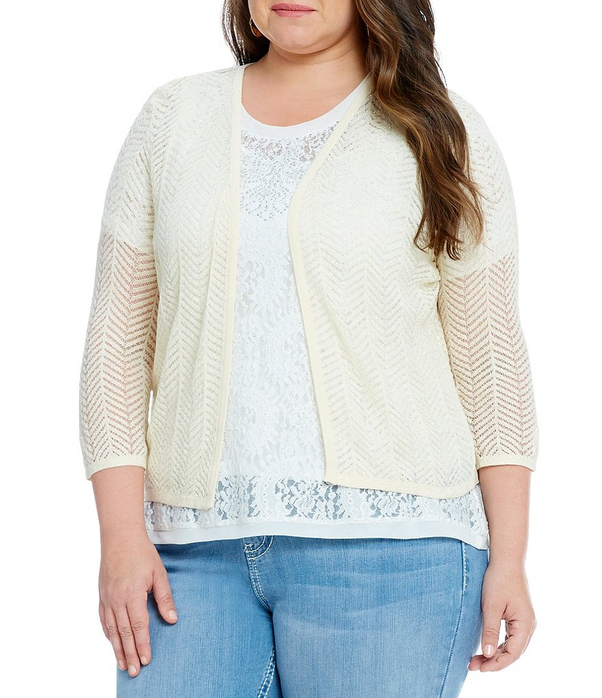 Reba Plus Foiled 3/4 Sleeve Cardigan