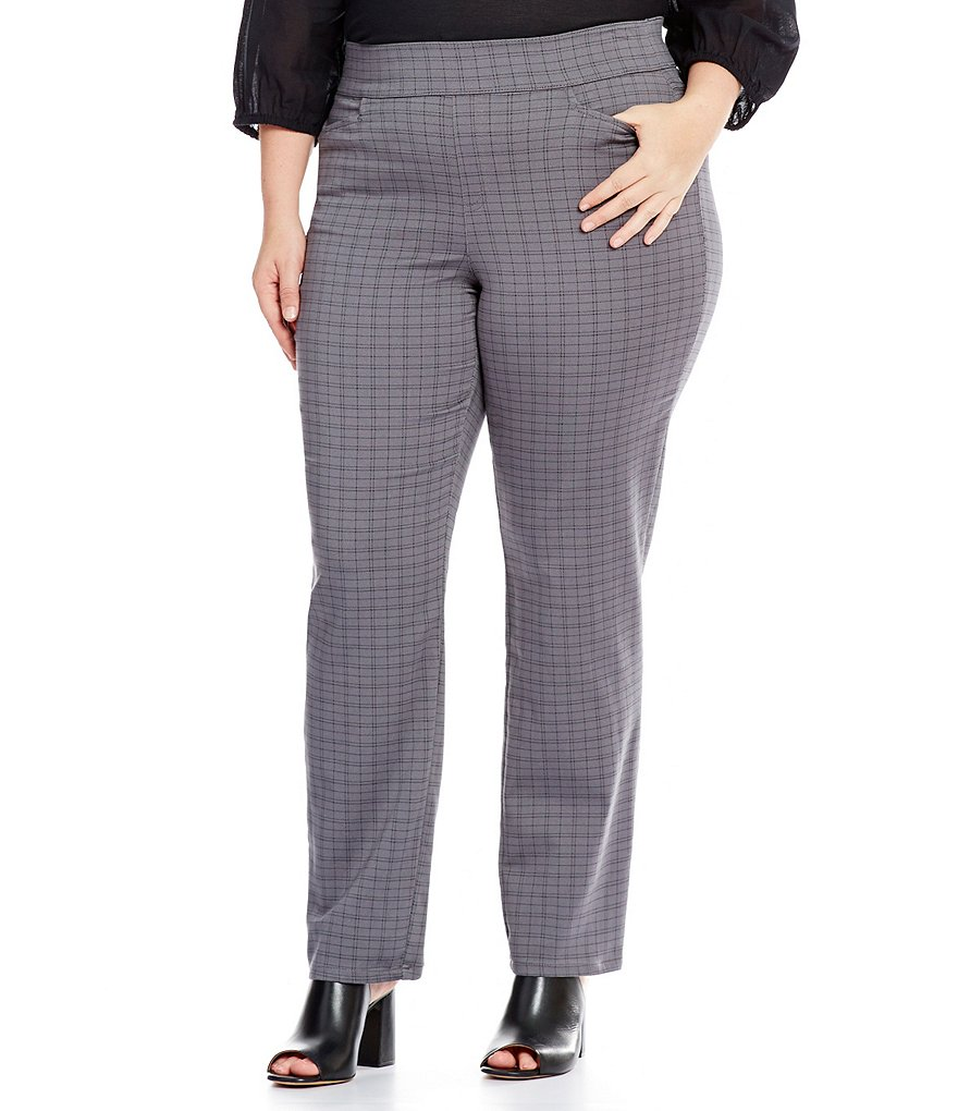 Intro Sheri Plus Pull-On Straight Leg Pintuck Plaid Print Pant