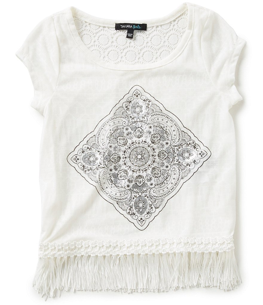 Takara Little Girls 4-6X Fringe-Trimmed Lace-Inset Top