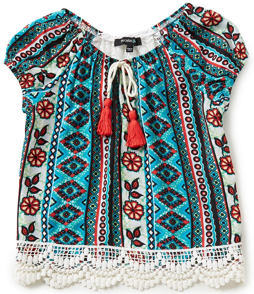 Takara Little Girls 4-6X Printed Knit Lace-Back Peasant Top