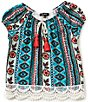 Color:Multi - Image 1 - Takara Little Girls 4-6X Printed Knit Lace-Back Peasant Top