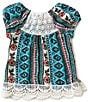 Color:Multi - Image 2 - Takara Little Girls 4-6X Printed Knit Lace-Back Peasant Top