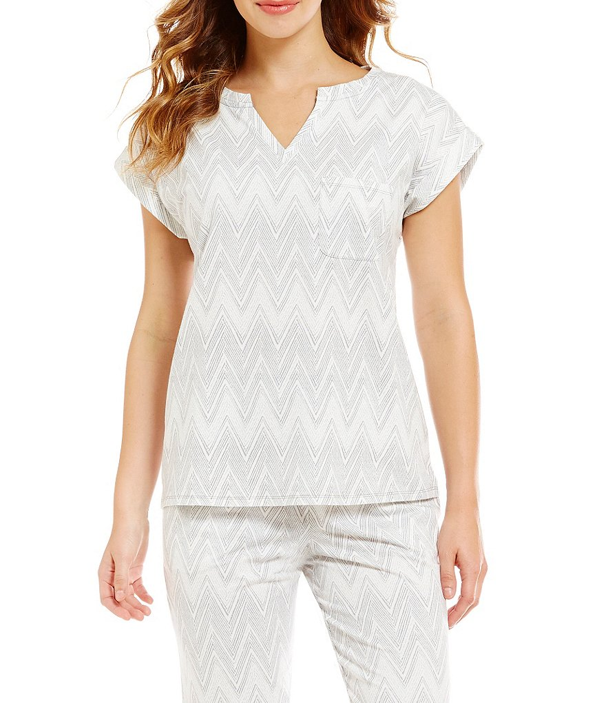 Sleep Sense Chevron Jersey Knit Split Neck Sleep Top