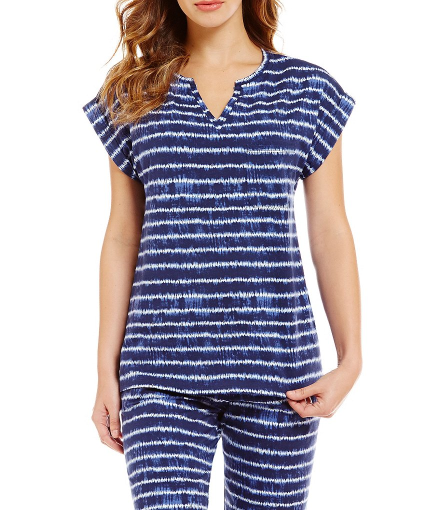 Sleep Sense Shibori Striped Split Neck Sleep Top