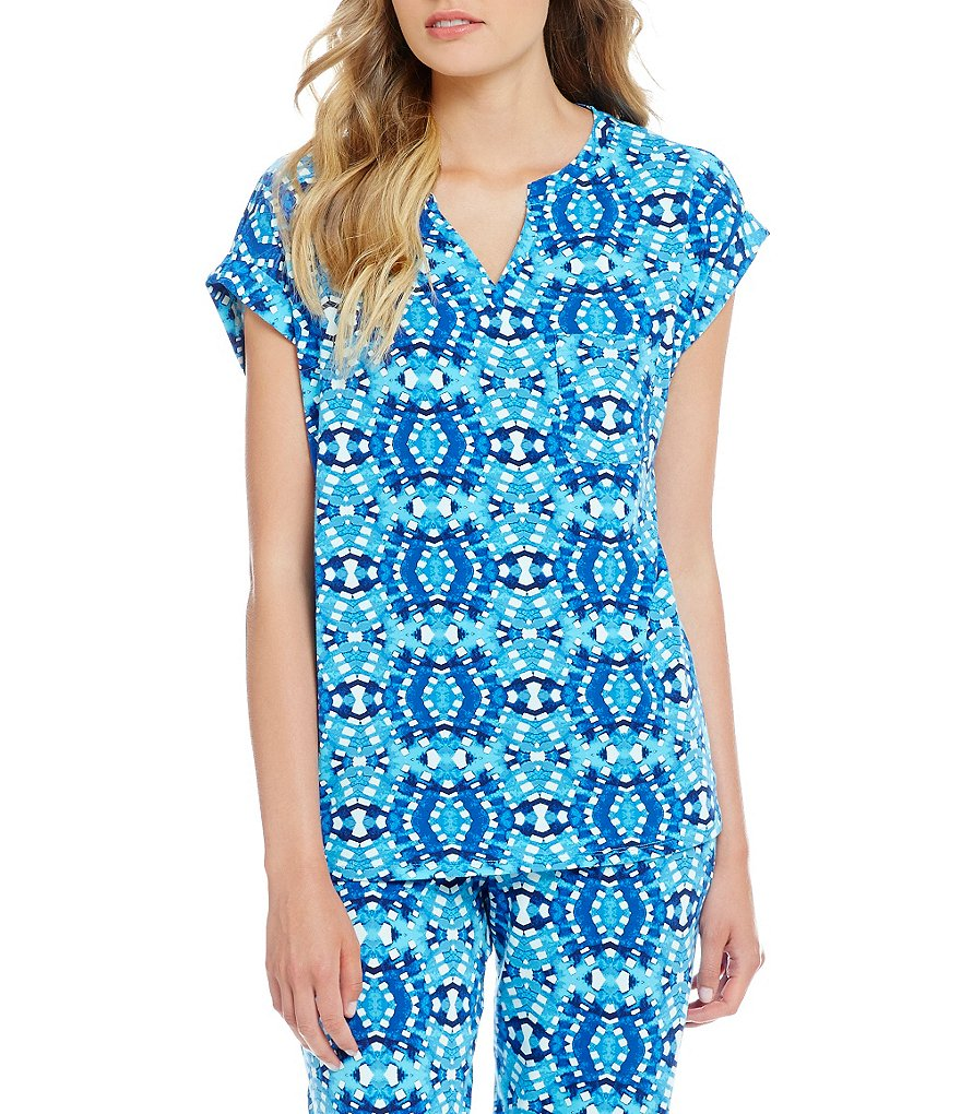 Sleep Sense Diamond-Print Jersey Sleep Top