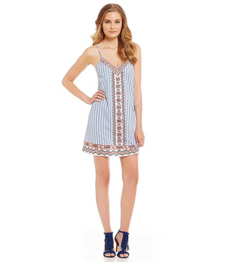 THML A-Line Printed Embroidered Sleeveless V-Neck Dress