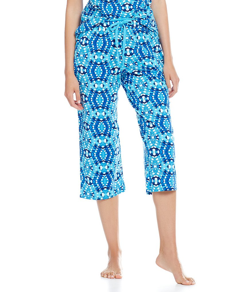 Sleep Sense Diamond-Print Jersey Capri Sleep Pants