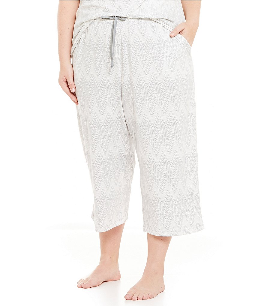 Sleep Sense Plus Chevron Jersey Capri Sleep Pants