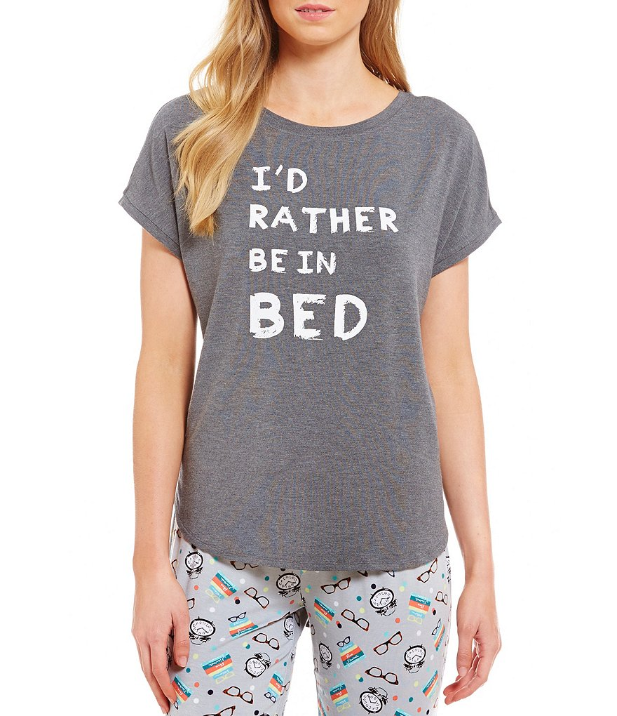 Jasmine & Ginger I'd Rather Be in Bed Dolman Sleep Top