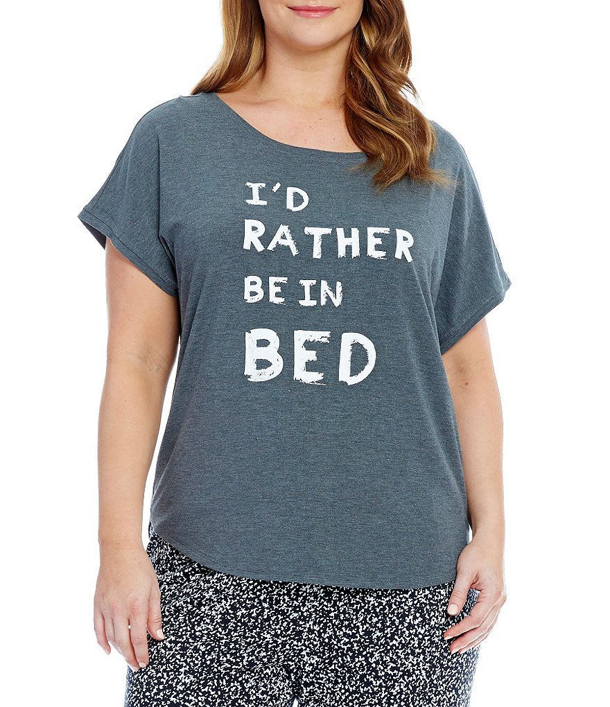 Jasmine & Ginger Plus I´d Rather Be in Bed Jersey Sleep Top