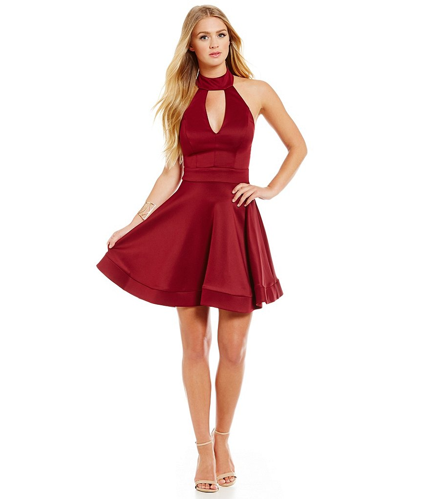 B. Darlin Choker Halter Neckline Fit-and-Flare Dress