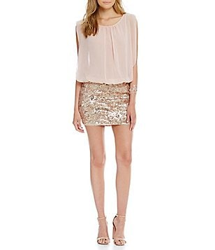 Aidan Aidan Mattox Sequin Blouson Sleeveless Dress