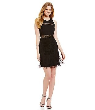 Aidan Aidan Mattox Fringe Skirt Dress