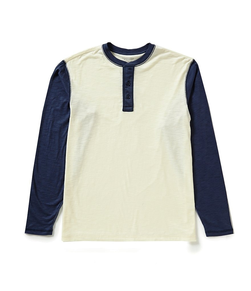 Roundtree & Yorke Soft Washed Long-Sleeve Slub Color Block Henley Tee
