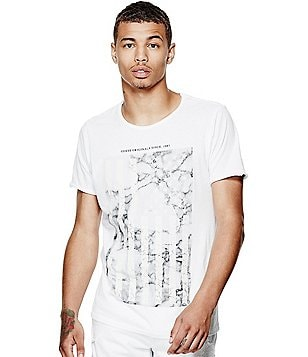 Guess Short-Sleeve Marble Crew Graphic Tee