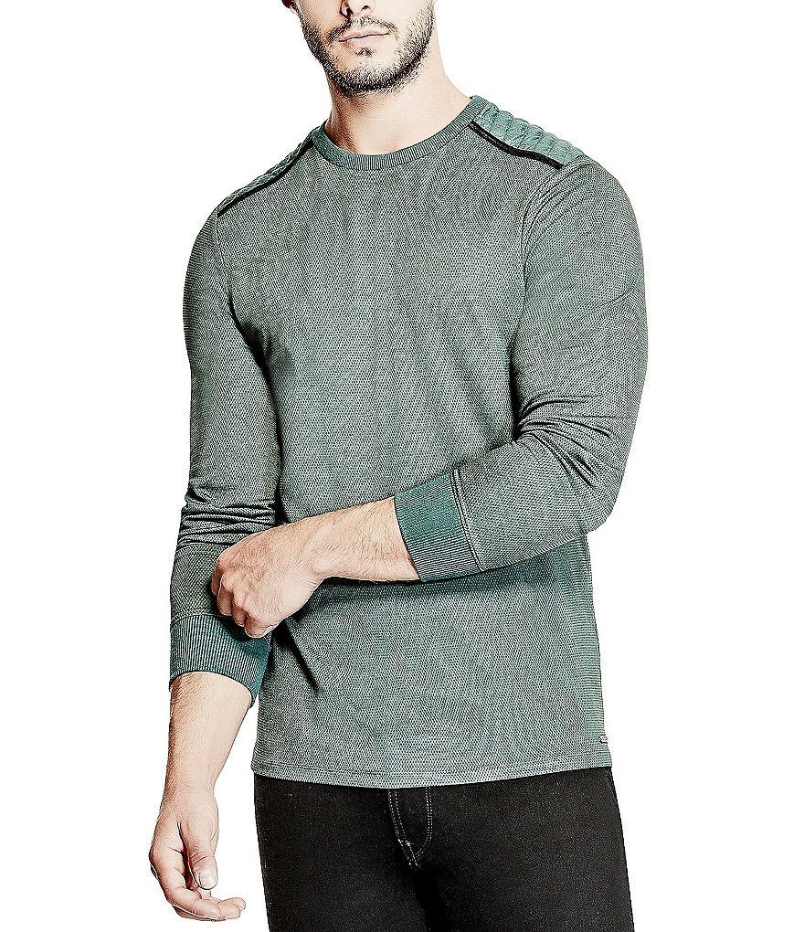 Guess Mason Long-Sleeve Quilted Jacquard Knit Tee