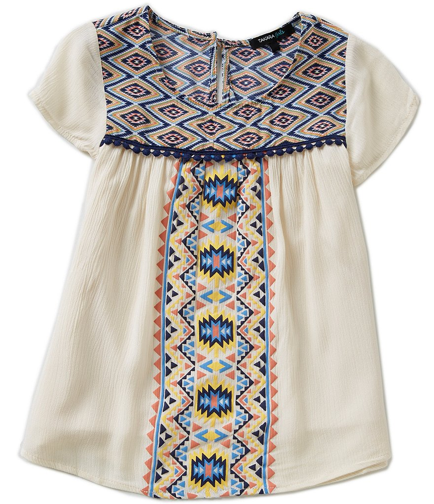 Takara Big Girls 7-16 Tribal-Print Embroidered Top