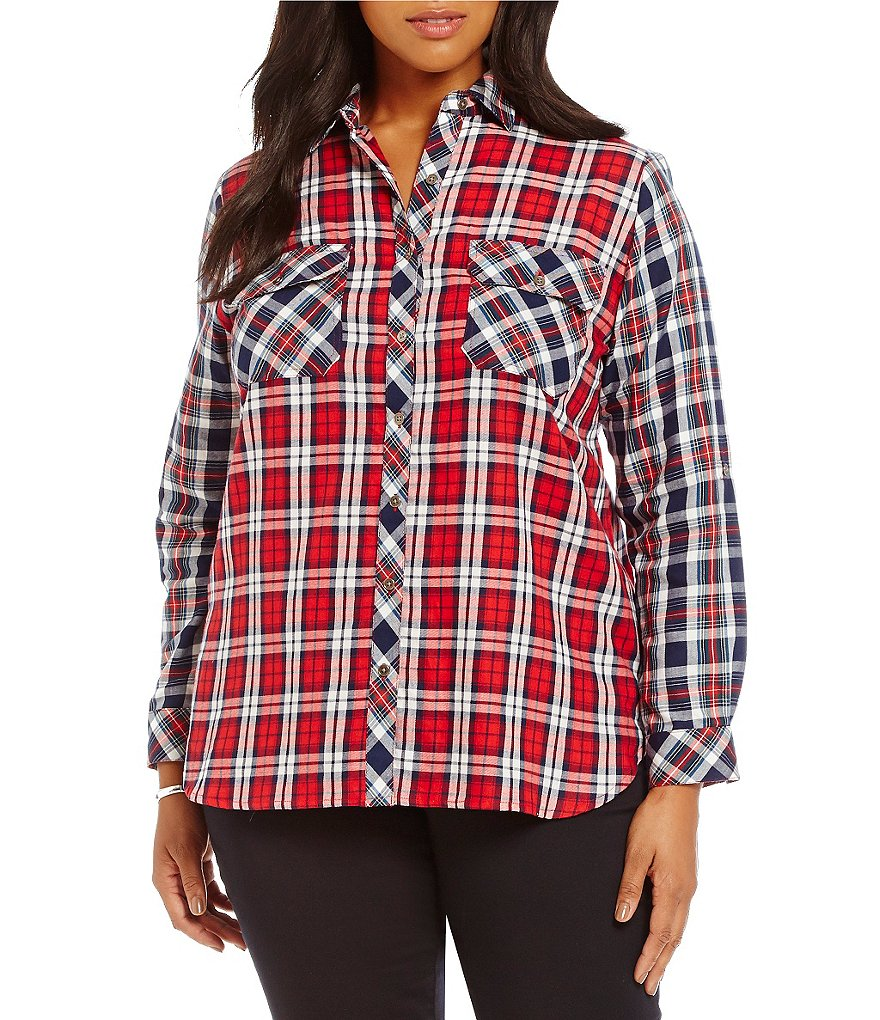 Intro Plus 3/4 Sleeve Cotton Mixed Plaid 2-Pocket Button Front Shirt