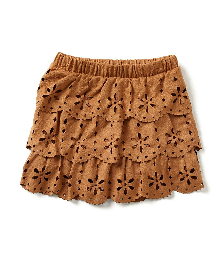 Takara Little Girls 4-6X Faux-Suede Cutout Tiered Skirt