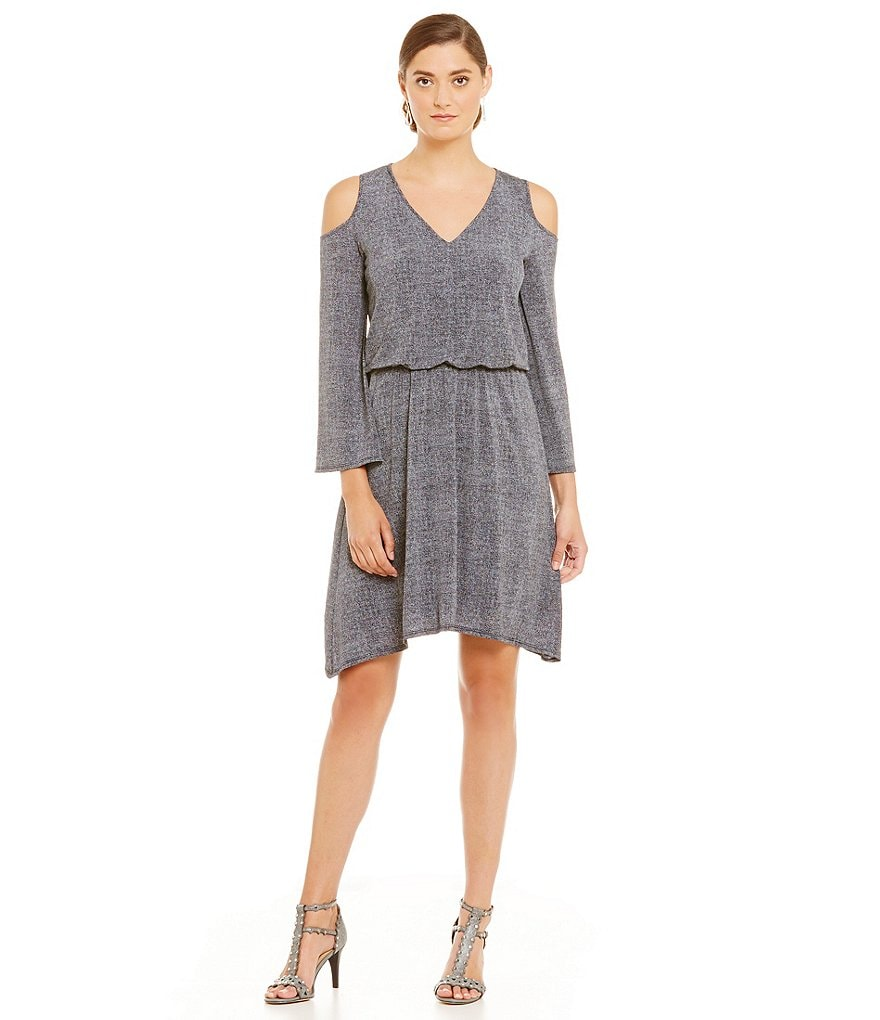 London Times Cold-Shoulder Blouson Dress