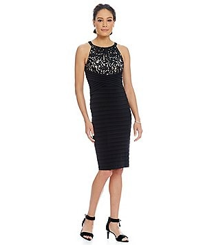 London Times Lace-Top Jersey Shutter Sheath Dress