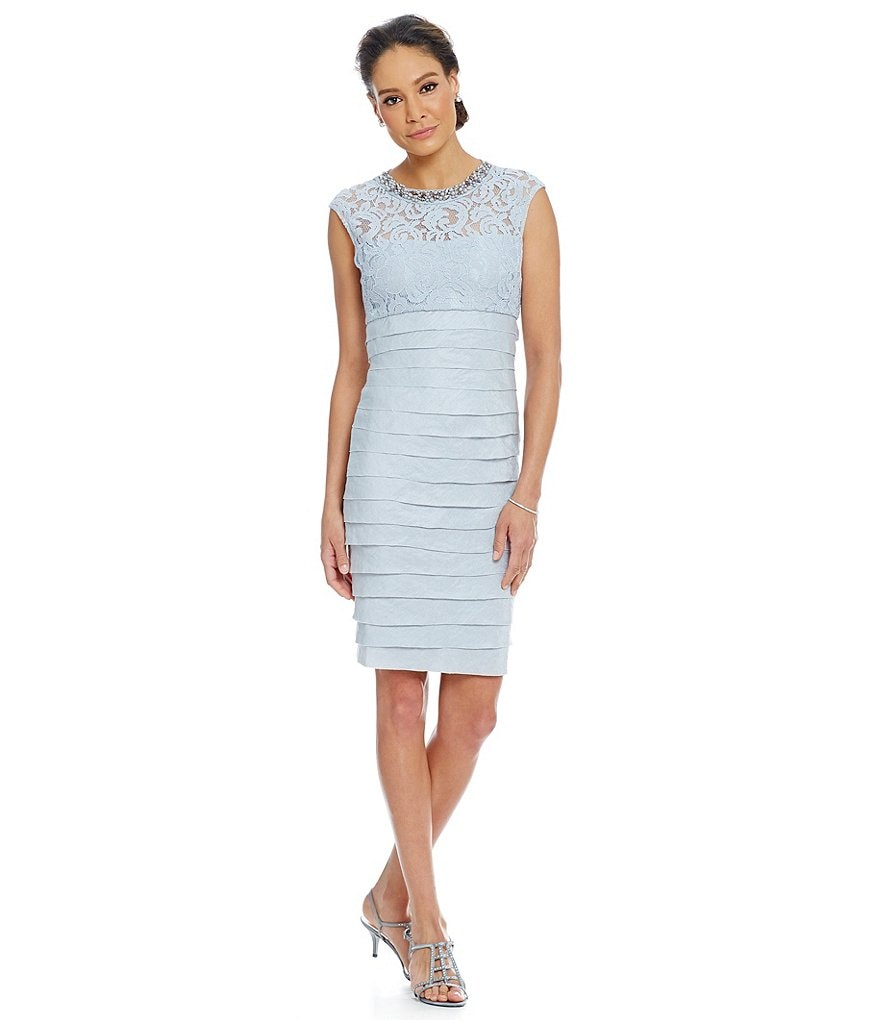 London Times Beaded-Neck Shutter-Pleat Cap Sleeve Sheath Dress