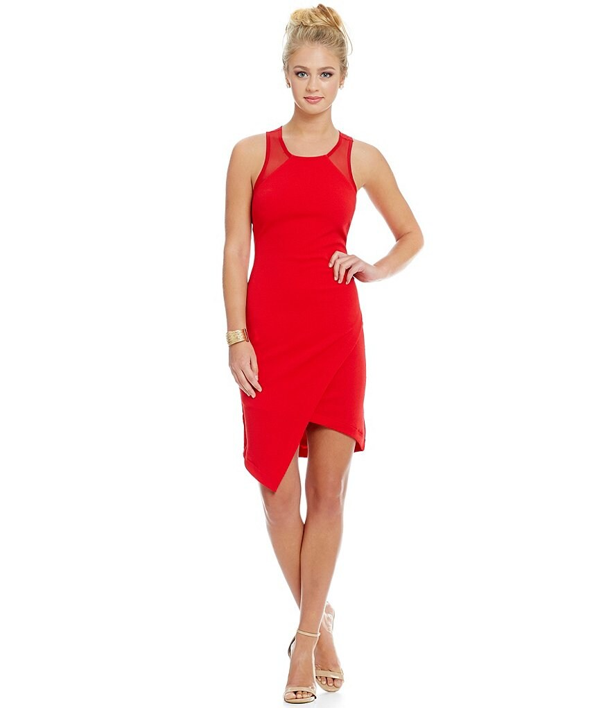 As U Wish Asymmetrical-Hem Sheath Dress