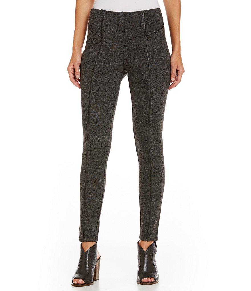 Intro Faux-Leather Piping Double Knit Pull-On Legging