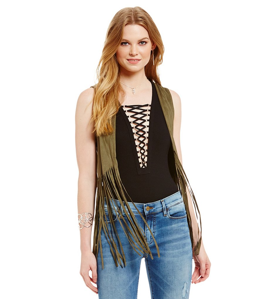 Buffalo David Bitton Faux Suede Fringe Vest