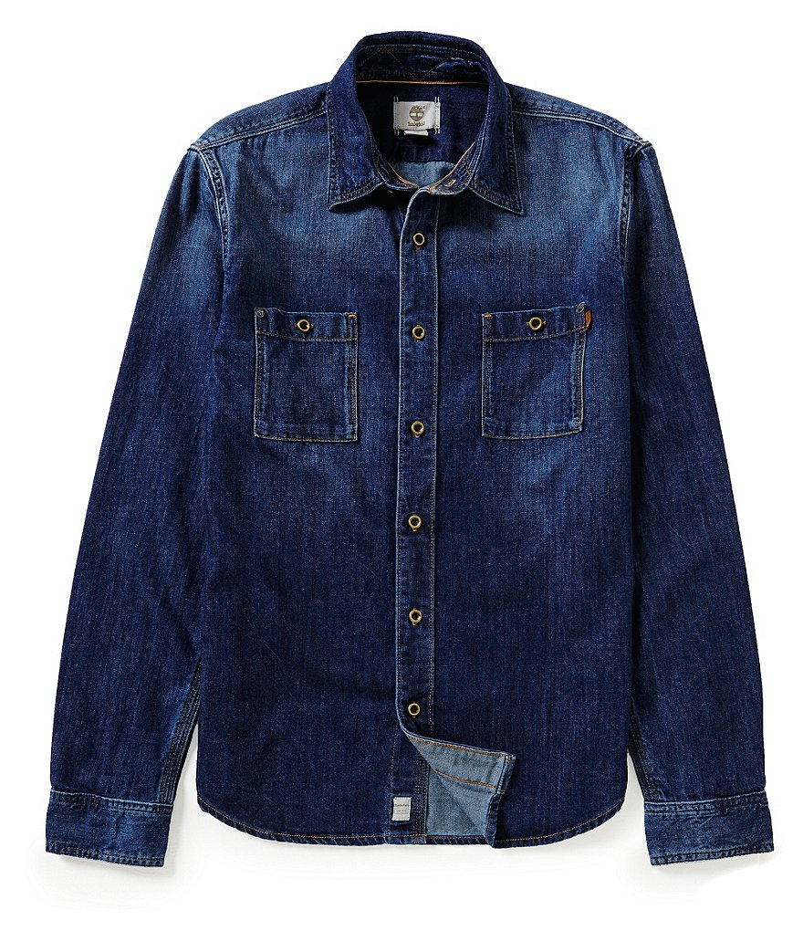 Timberland Outdoor Long-Sleeve Slim-Fit Mumford River Denim Woven Shirt