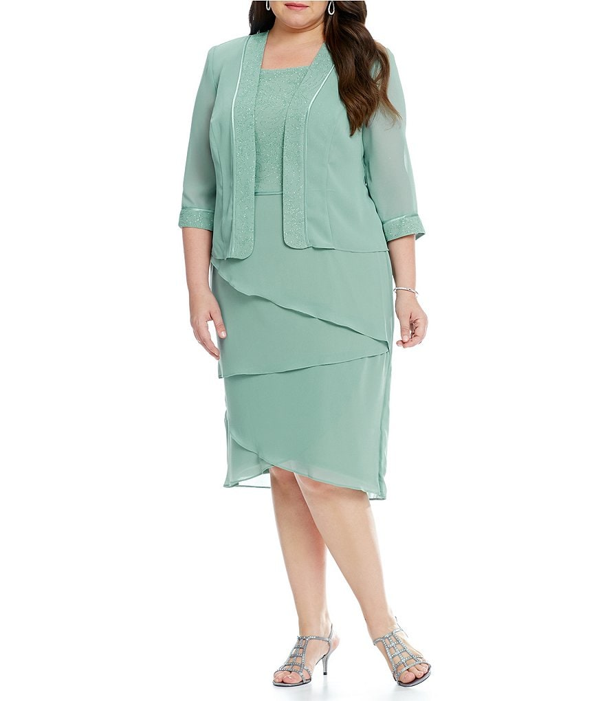 Le Bos Plus 3/4 Illusion Sleeve Tiered Jacket Dress