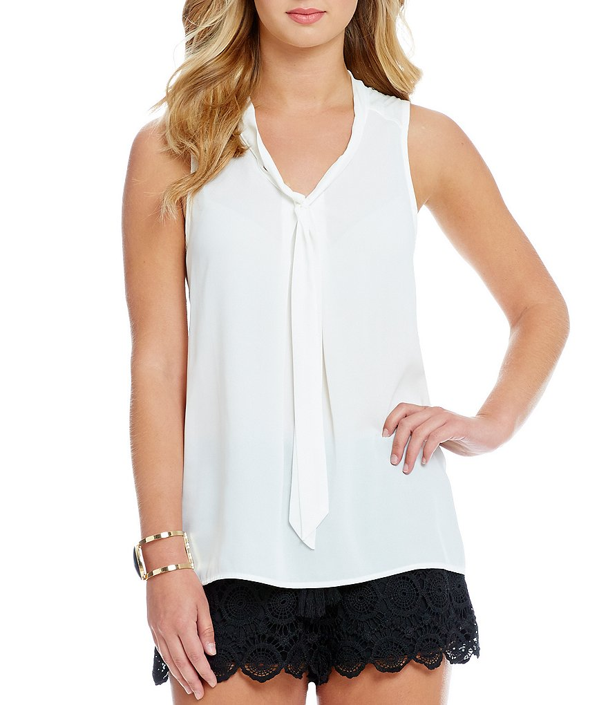 Soulmates Tie-Front Woven Tank Top